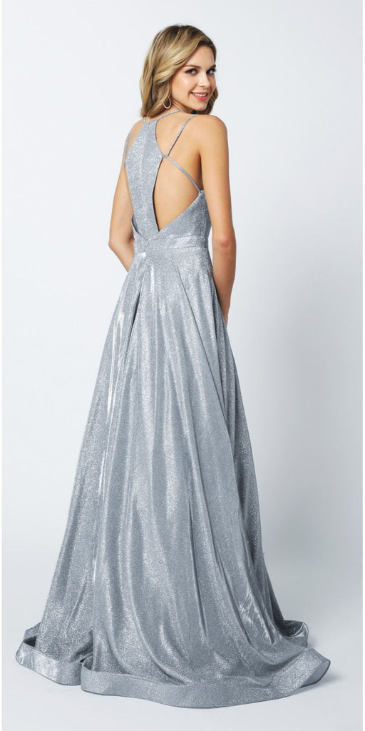 Juliet 203 Long Glitter Crepe Prom Dress Silver With Back Cut Outs