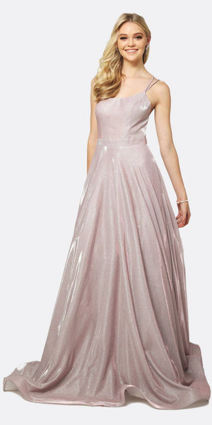 Juliet 203 Long Glitter Crepe Prom Dress Mauve With Back Cut Outs
