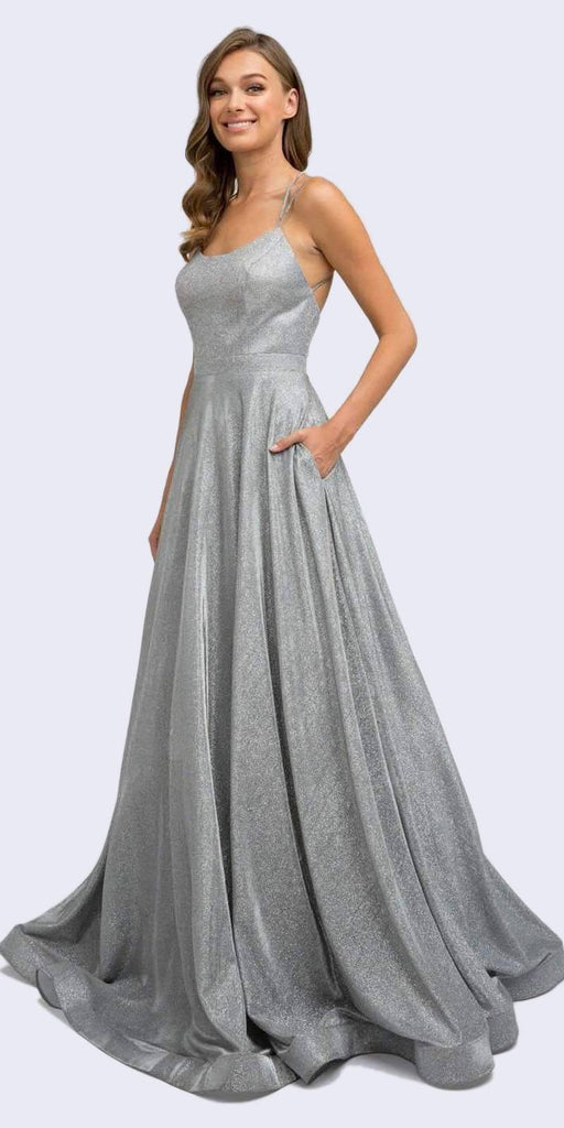 Juliet 203 Long Glitter Crepe Prom Dress Silver Back Cut Outs Pockets