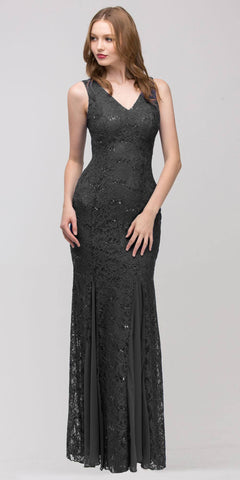 V Neck Sleeveless Floor Length Black Mermaid Party Gown