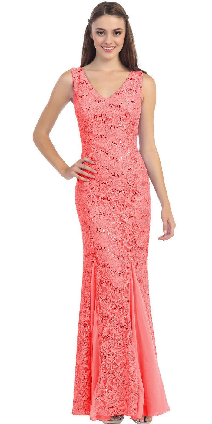 V Neck Sleeveless Floor Length Coral Mermaid Party Gown