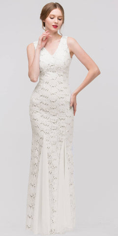V Neck Sleeveless Floor Length Ivory Mermaid Party Gown