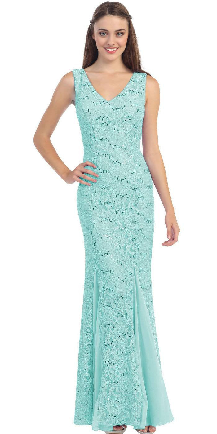 V Neck Sleeveless Floor Length Mint Mermaid Party Gown