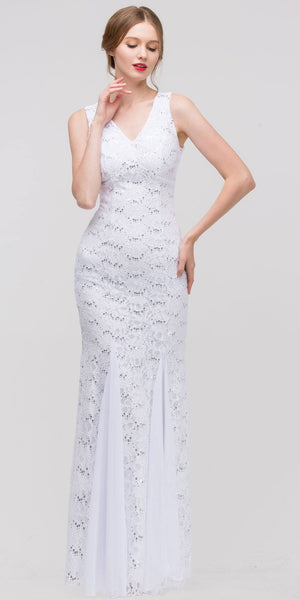 V Neck Sleeveless Floor Length White Mermaid Party Gown