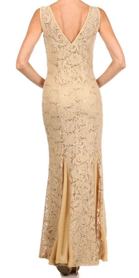 Eureka Fashion 2030 V Neck Sleeveless Floor Length Gold Mermaid Party Gown