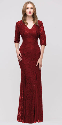 V Neck Sleeveless Floor Length Burgundy Mermaid Party Gown