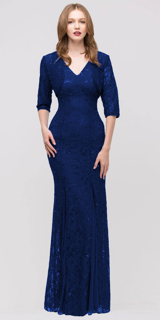 Eureka Fashion 2030 V Neck Sleeveless Floor Length Navy Blue Mermaid Party Gown
