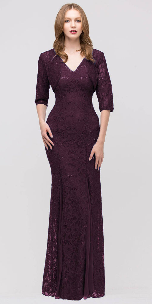 Eureka Fashion 2030 V Neck Sleeveless Floor Length Plum Mermaid Party Gown