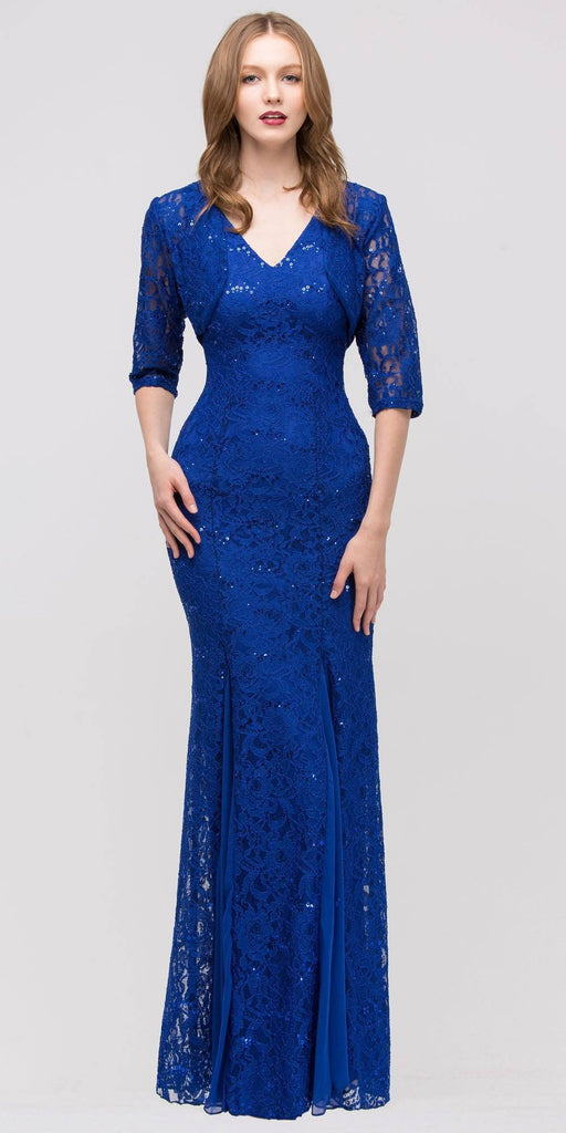 Eureka Fashion 2030 V Neck Sleeveless Floor Length Royal Mermaid Party Gown