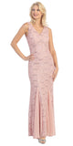 Eureka Fashion 2030 V Neck Sleeveless Floor Length Dusty Pink Mermaid Party Gown
