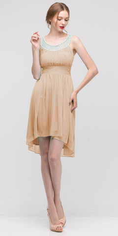 Knee Length Studded Neck Short Gold Dinner Party Dress