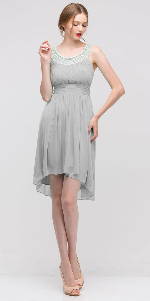 Knee Length Studded Neck Short Silver Dinner Party Dress