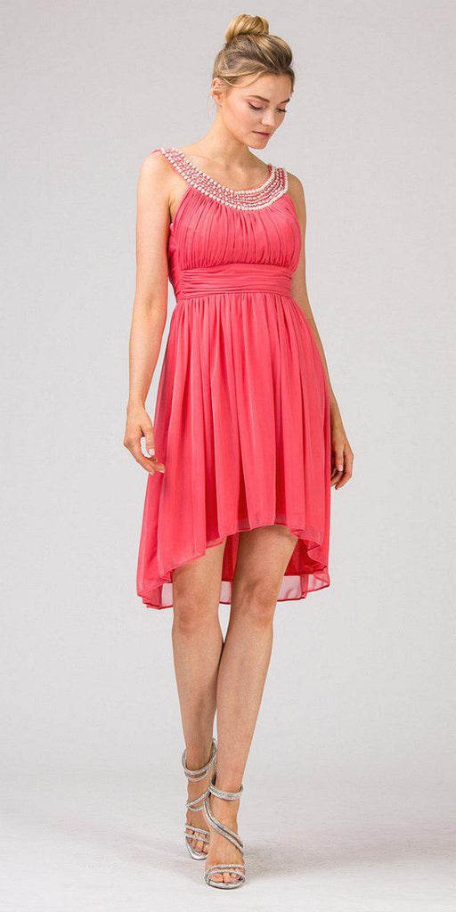 Eureka 2037 Knee Length Studded Neck Short Coral Dinner Party Dress
