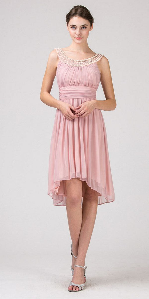 Eureka 2037 Knee Length Studded Neck Short Dusty Pink Dinner Party Dress