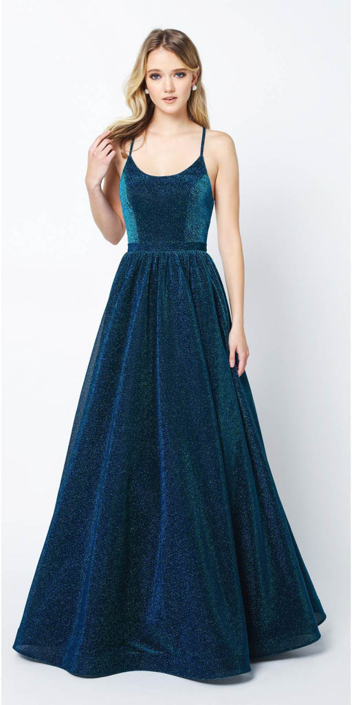 Juliet 204 Criss Cross Back Ball Gown Style Glitter Prom Dress Peacock