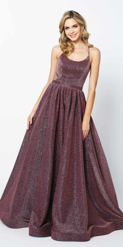 Floor Length A-Line Strapless Ball Gown Purple Metallic Brocade Details