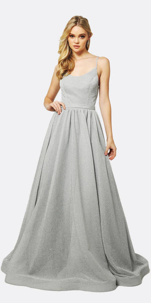 Juliet 204 Criss Cross Back Ball Gown Style Glitter Prom Dress Silver