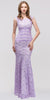 Two Tone Lilac Gold Overlay Lace Dress Mermaid Wide Strap