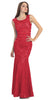 Two Tone Red Gold Overlay Lace Dress Mermaid Wide Strap
