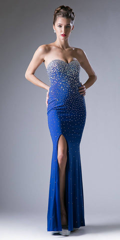 Royal Blue Sweetheart Neck Rhinestone Embellished Evening Gown with Slit