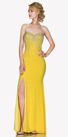 Yellow Sweetheart Neck Rhinestone Embellished Evening Gown with Slit