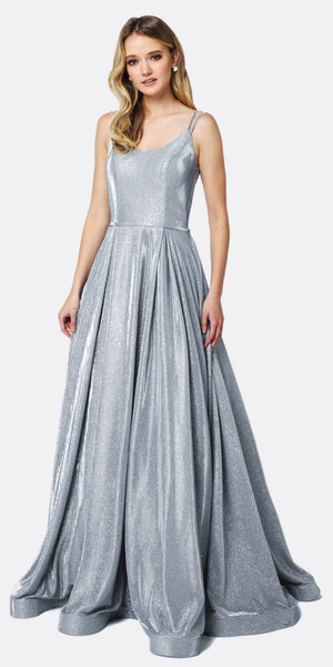 Juliet 206 Long A-Line Glitter Prom Gown Silver Double Spaghetti Straps