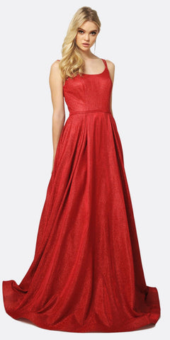 Juliet 206 Long A-Line Glitter Prom Gown Red Double Spaghetti Straps