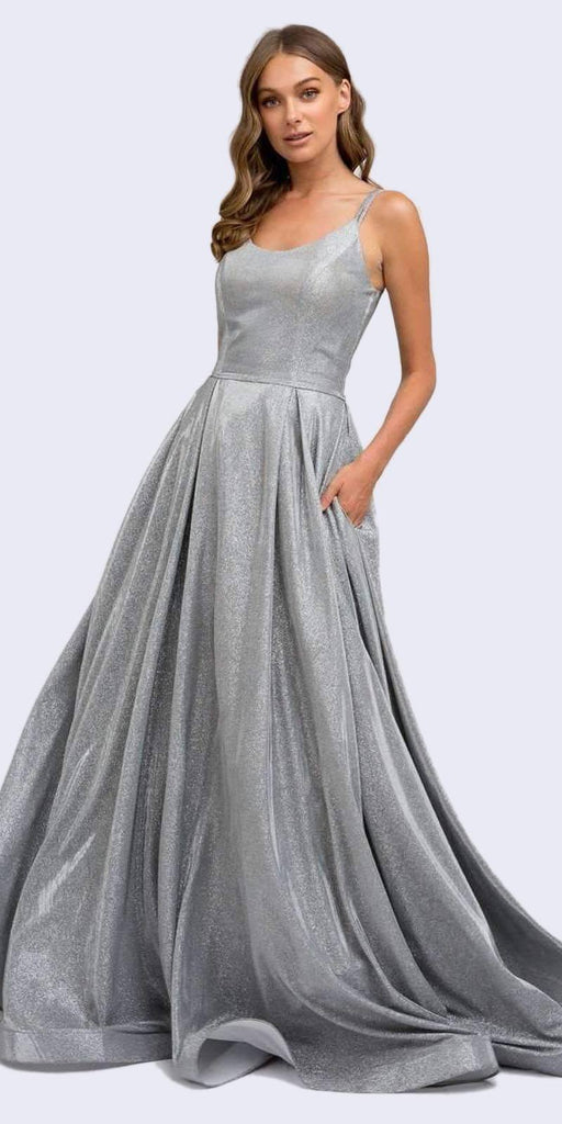 Juliet 206 Long A-Line Glitter Silver Prom Gown Side Pockets