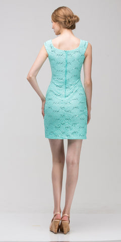 Mint Above Knee Lace Fitted Cocktail Dress Tank Strap Back View
