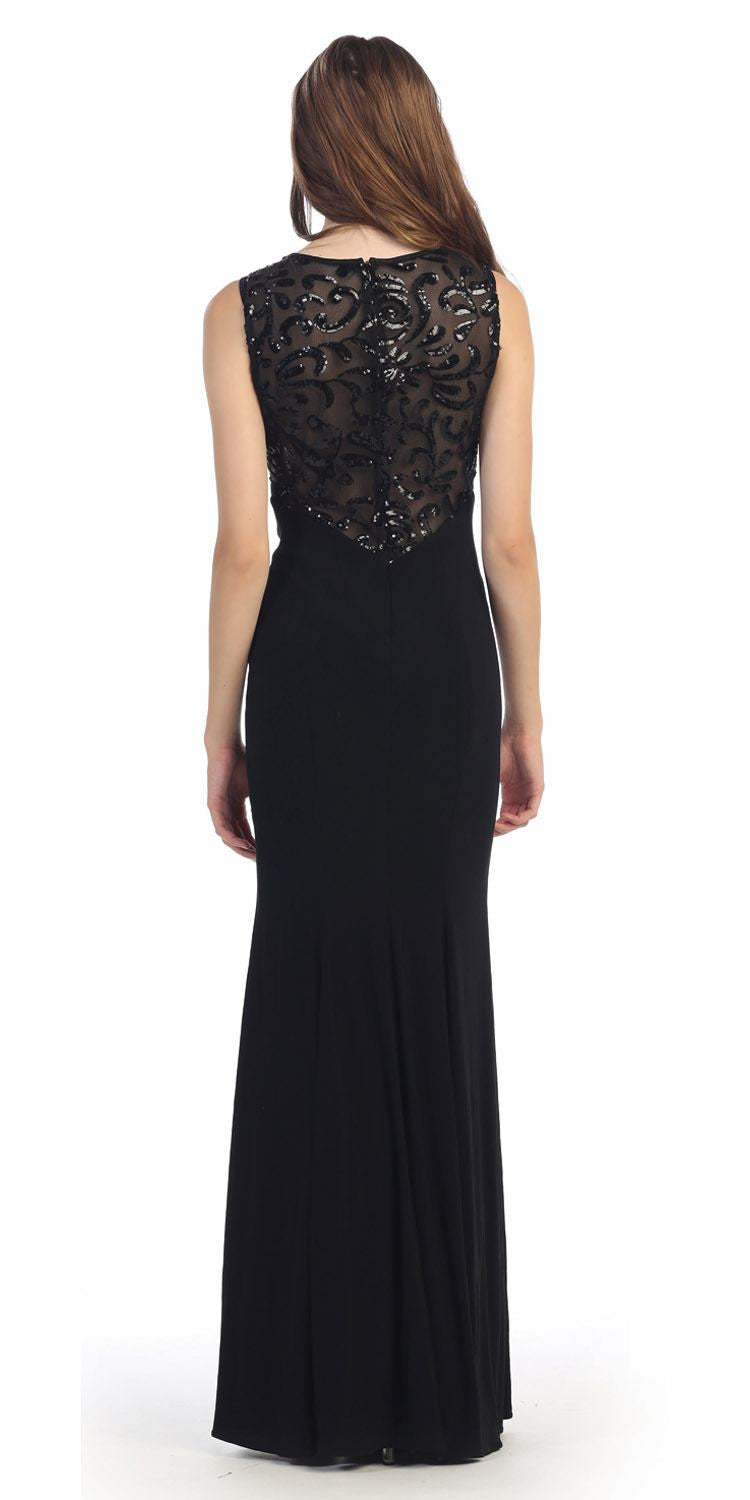 Black Jersey Sheer Cut-Out Round Neck Sleeveless Prom Dress