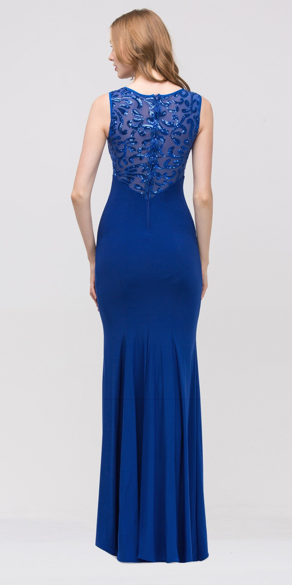 Royal Blue Jersey Sheer Cut-Out Round Neck Sleeveless Prom Dress Back
