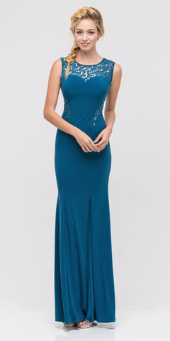 Teal Jersey Sheer Cut-Out Round Neck Sleeveless Prom Dress