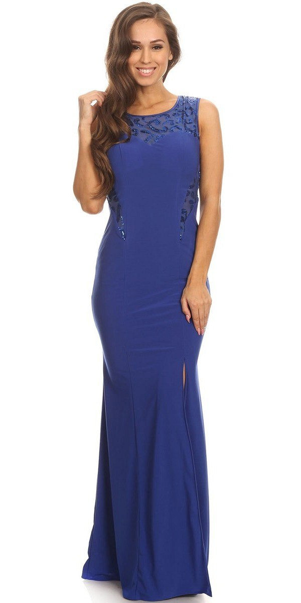 Royal Blue Jersey Sheer Cut-Out Round Neck Sleeveless Prom Dress