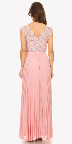 Cap Sleeves Belted Long Formal Dress Pleated Skirt Dusty Pink