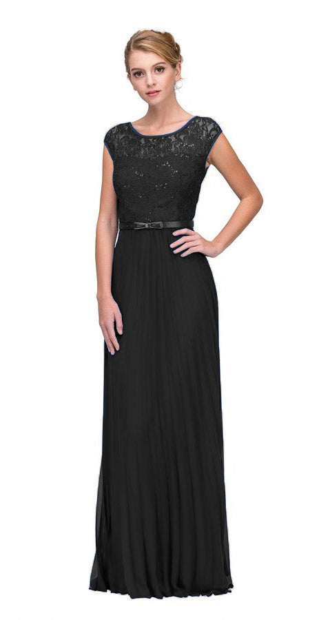 Eureka Fashion 2066-1 Cap Sleeves Belted Long Formal Dress Pleated Skirt Black