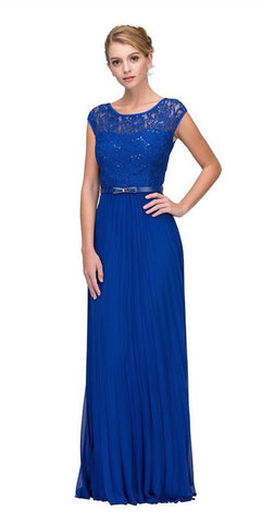 Eureka Fashion 2066-1 Cap Sleeves Belted Long Formal Dress Pleated Skirt Royal Blue