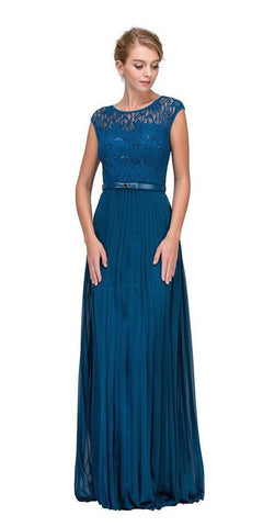 Eureka Fashion 2066-1 Cap Sleeves Belted Long Formal Dress Pleated Skirt Teal