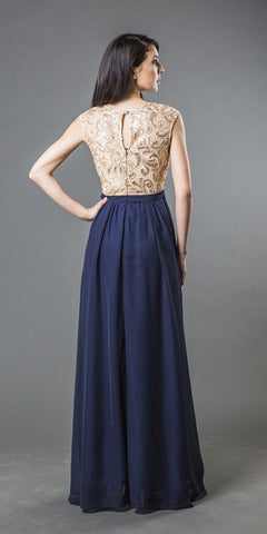 Cap Sleeved Long Prom Dress with Keyhole Back Navy Blue/Gold
