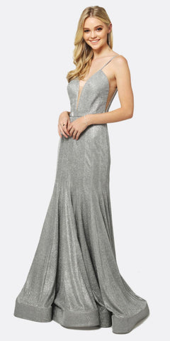 Juliet 207 Low V-Neck Fitted Glitter Mermaid Prom Dress Silver