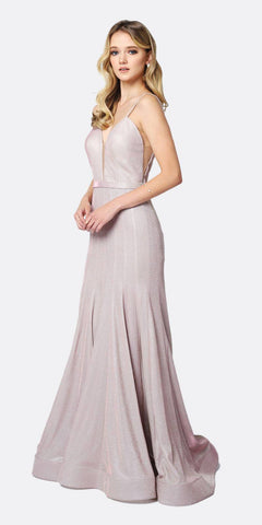 Juliet 207 Low V-Neck Fitted Glitter Mermaid Prom Dress Rose Gold