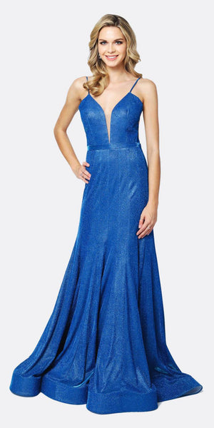 Juliet 207 Low V-Neck Fitted Glitter Mermaid Prom Dress Royal Blue