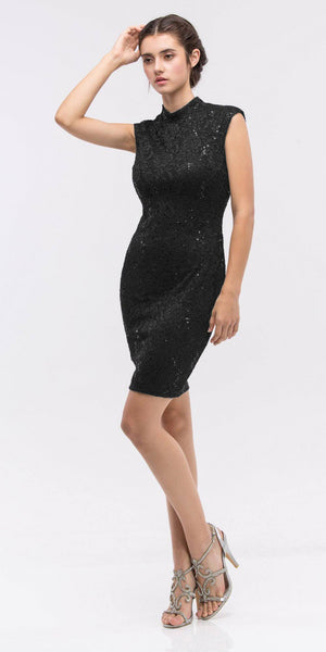 Lace Close Neck Sleeveless Bodycon Short Party Dress Black