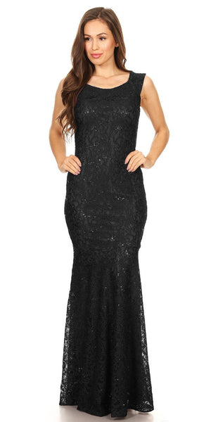 Sleeveless Lace Sequins Fit and Flare Evening Gown Black Floor Length