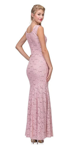 Eureka Fashion 2072 Sleeveless Lace Sequins Fit and Flare Evening Gown Blush Floor Length Back View