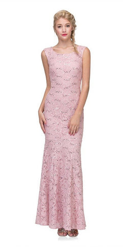 Eureka Fashion 2072 Sleeveless Lace Sequins Fit and Flare Evening Gown Blush Floor Length