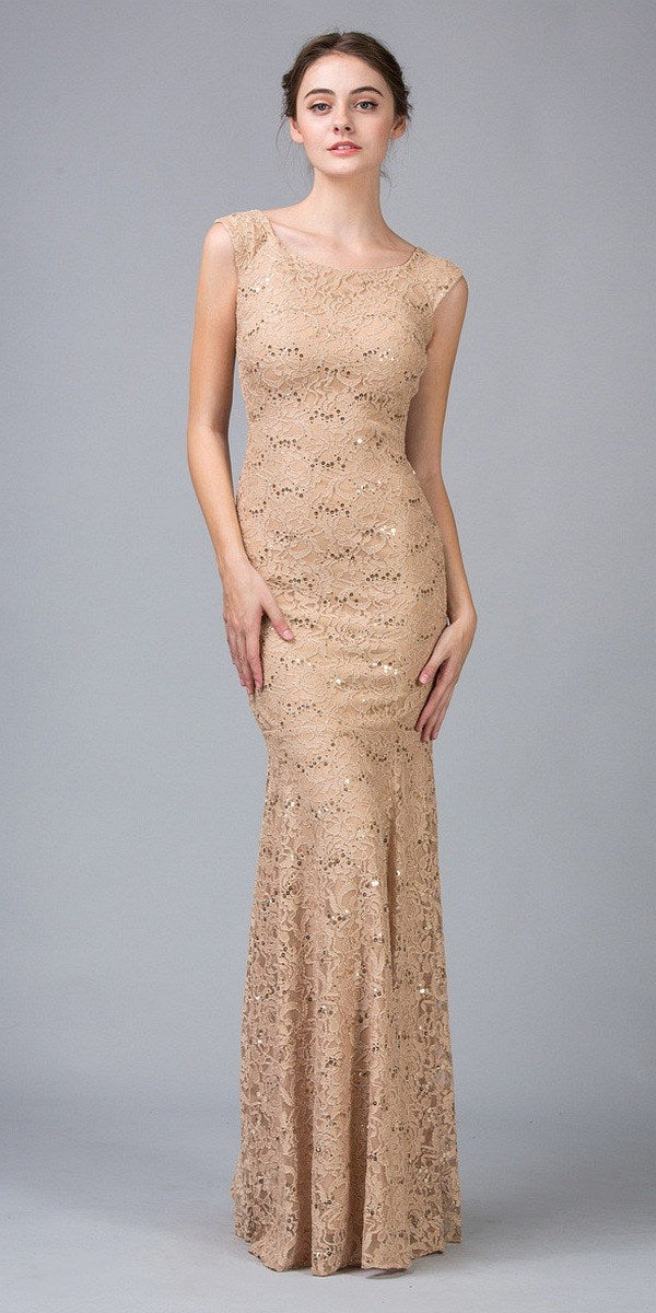 d8ddca7f Sleeveless Lace Sequins Fit and Flare Evening Gown Gold Floor Length ...