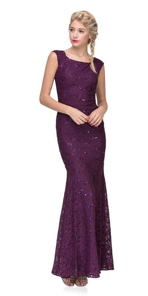 Eureka Fashion 2072 Sleeveless Lace Sequins Fit and Flare Evening Gown Plum Floor Length