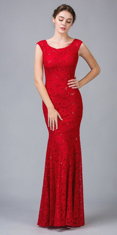 Sleeveless Lace Sequins Fit and Flare Evening Gown Red Floor Length