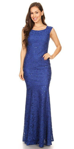 Sleeveless Lace Sequins Fit and Flare Evening Gown Royal Blue Floor Length