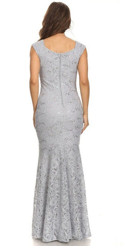 Sleeveless Lace Sequins Fit and Flare Evening Gown Silver Floor Length Back